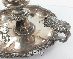 1700s/ 1800s GEORGIAN ERA SHEFFIELD PLATE CHAMBER STICK CANDLE HOLDER + SNUFFER