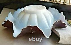 1800's Art glass bride bowl epergne Enamel Figural quadruple plate frame PUTTI