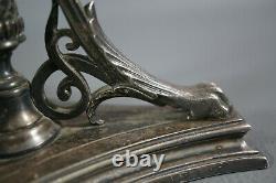 1880 Lackner Vienna Bronze Silver-plate Centerpiece Bowl Dish Tray Stand Griffin