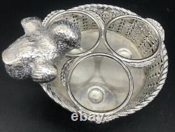 1880 Silver Plated Mappin & Webb Chicken Cruet Set Pepper Salt Egg Cup Spoon