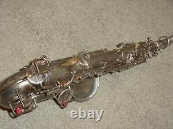 1929 Conn Chu Alto Saxophone, Rolled Toneholes, Original Silver, Plays Great
