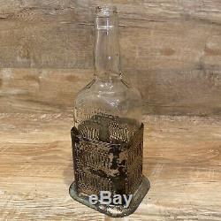 1954 Jack Daniels Lem Motlow Prop. 4/5 Quart Bottle With Silver Plated Base