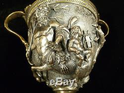 19th CENTURY SILVER PLATED BRONZE MYTHOLOGICAL RELIEF VASE ON MARBLE PEDESTAL