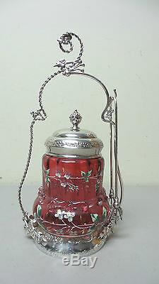 19th C. ENAMELED CRANBERRY GLASS PICKLE CASTOR MIDDLETON SILVER PLATE STAND