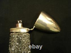 19th C. English Cut Glass Lay-Down 9.5 Scent Bottle, Silver Plate Top