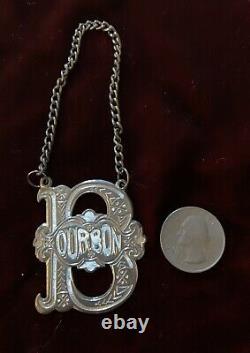 5 Engraved Victorian Silverplate Liquor Tags Bourbon, Cognac, Gin, Scotch, Vodka