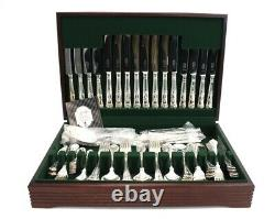 90 Piece GEORGE BUTLER Sheffied SILVER PLATED CUTLERY CANTEEN Vintage Shell -S51