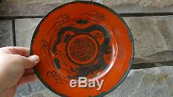 ANTIQUE CHINESE RARE RED CORAL PORCELAIN WithSILVER DRAGON PLATE ON RASEWOOD STAND