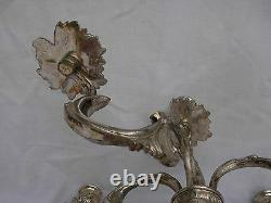 ANTIQUE FRENCH SILVERPLATED BRONZE CANDELABRA, EARLY 20th CENTURY