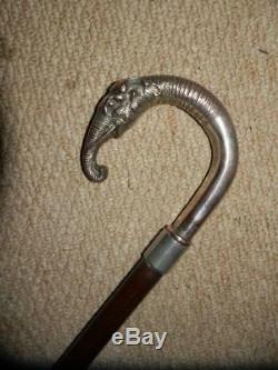 ANTIQUE SILVER PLATE ELEPHANT HEAD HANDLE STICK CANE 37 long