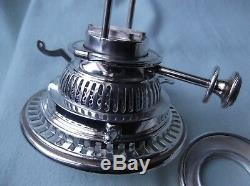 A Victorian Hink`s, Silver plated, Duplex, OIL LAMP BURNER and COLLAR. Perfect
