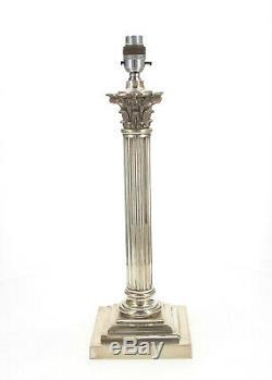 A silver plated Corinthian Column lamp Signed G. S Circa 1900 45 cm