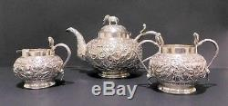 Anglo Indian Solid Silver Tea Set. Lucknow, 1890s. 634 Grams