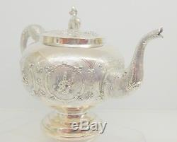 Anglo Indian Solid Silver Tea Set. Madras, 1890s. 791 Grams