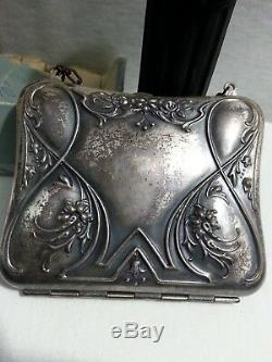 Antiqu 1920s Victorian Compact Purse Nouveau Floral Silver Metal Mirror Perfume