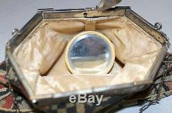 Antique 1800 Dutch hand embroidered silver-plated Art Deco hand bag clutch purse
