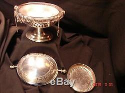 Antique 1800's Silver Rotating Cover Butter Dish On Pedestal c/ Original Insert
