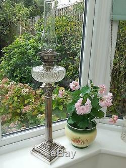 Antique 1890s Large Mappin & Webb Silver Plate Corinthan Column Oil Lamp