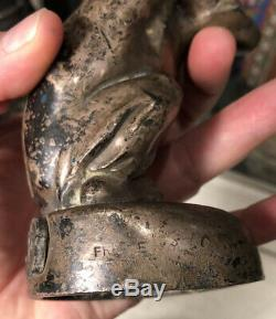 Antique Art Deco Max Le Verrier Silver Plate Monkey Statuette Light to Restore