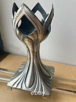 Antique Art Nouveau Secession Jugendstil Silver-plated Pewter Vase/Candle holder