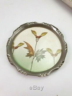 Antique Art Nouveau WMF Silver Plated Serving Tray & Coaster Mettlach Ceramic