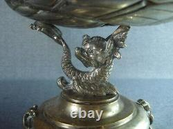 Antique Art Nouveau WMF Style Silver Plated Fruit Dish Tray Putti with bird