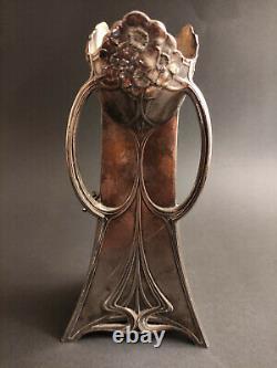 Antique Art Nouveau Wmf Metal Vase 1906 Woman Flute Rare Hallmark Silver Plated
