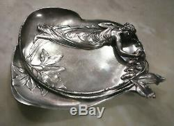 Antique Art Nouveau Wmf Silver Pewter Wall Figural Plate Card Tray Jugendstil