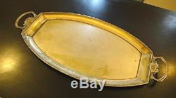 Antique Art Nouveau Wmf Wine Huge Two Handles Serving Tray Silver Plated Brass