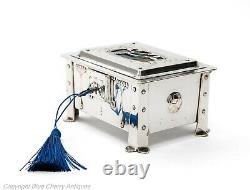 Antique Arts & Crafts Silver Plated & Enamel Nouveau Design Jewellery Box