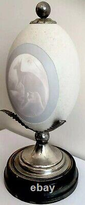 Antique Australian Cameo Carved Emu Egg on Silver Plate Stand Victorian 19th C