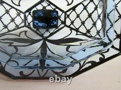 Antique Bohemian ART DECO Perfume bottle Powder Box Blue Glass Silver Plating
