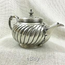 Antique Christofle Teapot Silver Plated Original French Art Nouveau Ribbed Swirl