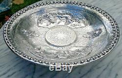 Antique Classical Mythological God Poseidon Silver Plated Embossed Bowl 15