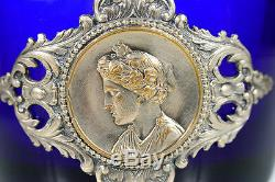 Antique Cobalt Blue French Ever withelaborate Silver Plated Handle and top