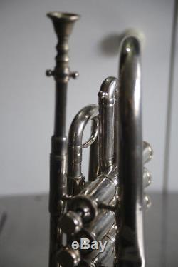 Antique Couesnon Trumpet Cornet + Original Case Brass Silver Plated 1900s Paris