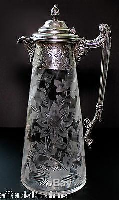 Antique Cut Engraved Floral Early Glass Pitcher Silver Plate Gorgeous