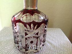Antique Decanterbohemian Ruby Crystal Cut To Clear With Silver Plated Spout