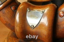 Antique Dinner Gong. English Oak, Cattle Horn, Silver Plate & Brass Table Top