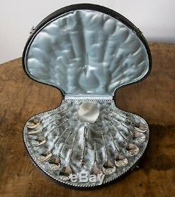 Antique Dutch Hallmarked Silver Dessert Spoons and Server in Original Shell Box
