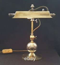 Antique Edwardian Brass Desk Lamp The Shannon Multi Position Steampunk Design