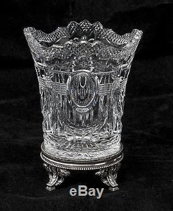 Antique Edwardian Fine Quality Cut Glass Swag & Bow Vase & Silver Plated Stand