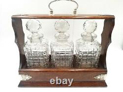 Antique Edwardian Tantalus With 3 Glass Decanter With Silver Plate Mounts