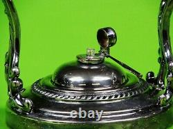 Antique Elegant Silver Plated Teapot With Original Stand And Burner On Tilting S