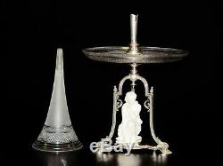 Antique English Center Piece Epergne with Silver Plated Base & Copeland Figurine