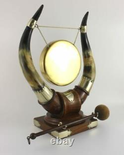 Antique English Oak, Bovine Horn, Silver Plate & Brass Dinner Table Top Gong