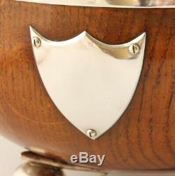 Antique English Oak Silver Princes Plate Bowling Trophy Bowl. Mappin & Webb 1888