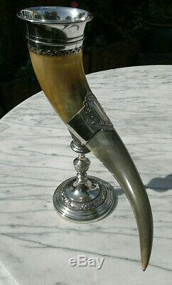 Antique English Victorian Cornucopia Horn Vase c1880 Silver Plated 12.5Tall