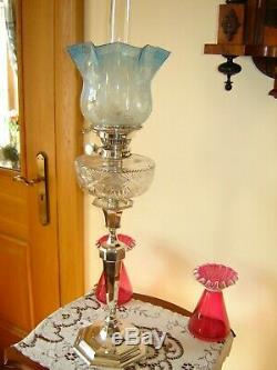 Antique English Victorian Hinks Silver Plated Oil Lamp / Blue Etched Shade