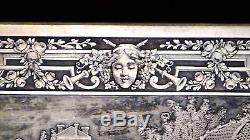 Antique French Etching Silvered On Bronze Wall Plaquecourt Scenecherubs, Framed